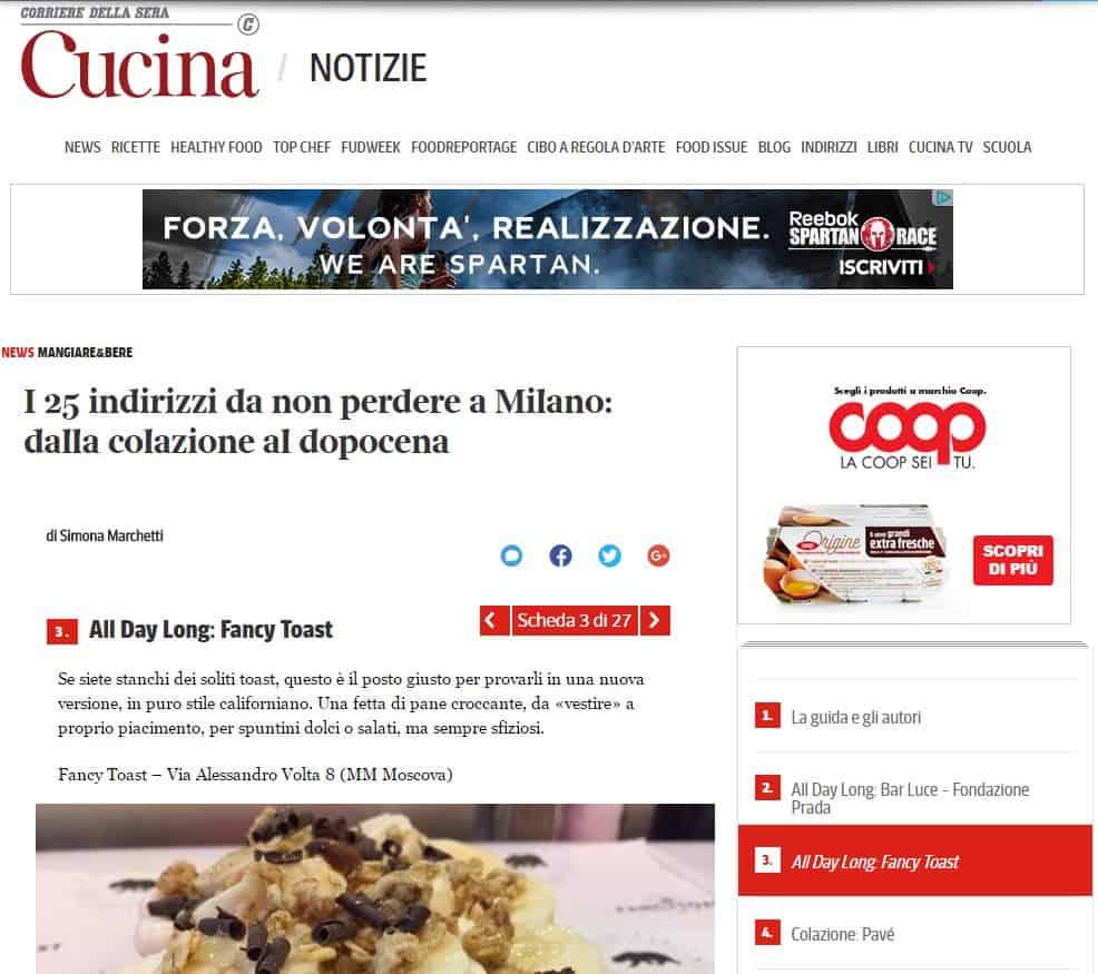 fancytoast su Corriere Cucina
