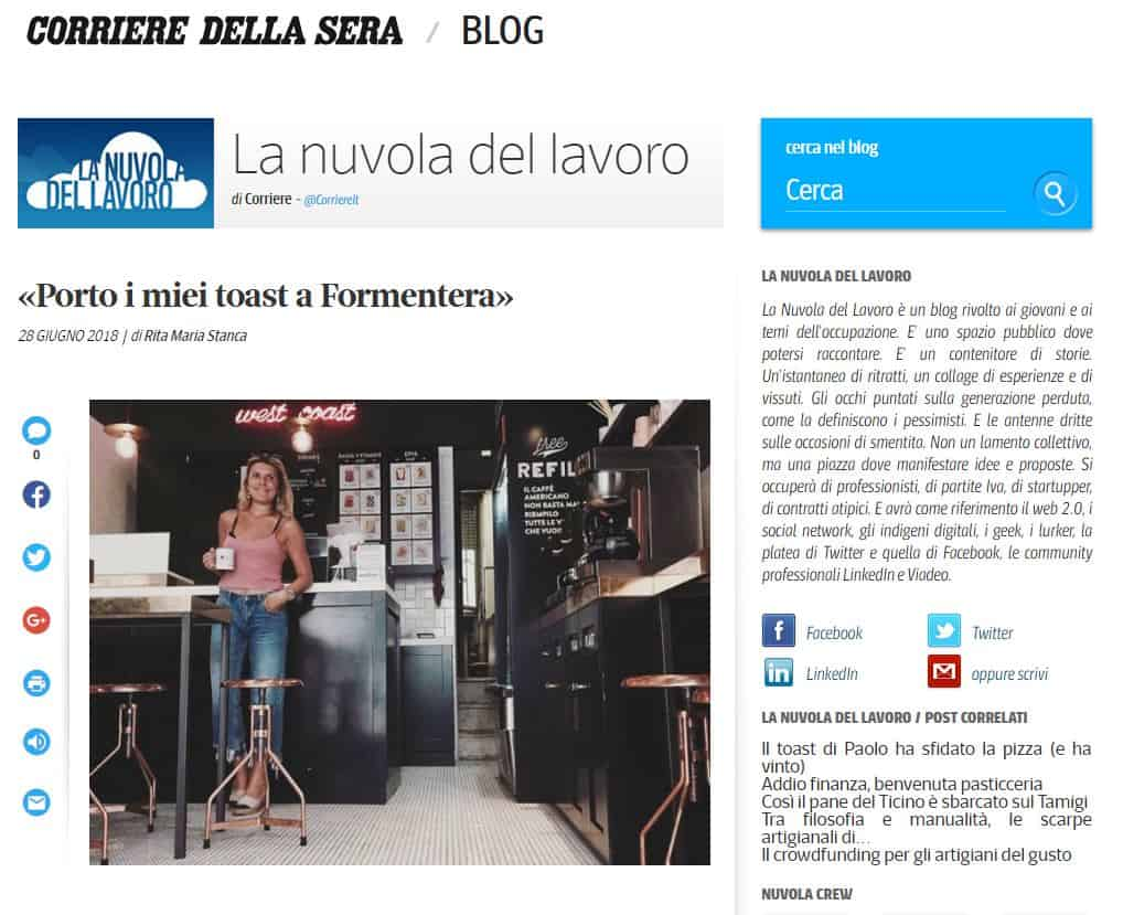 fancytoast articolo Corriere della Sera La Nuvola del Lavoro
